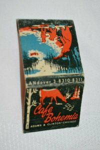 Cafe Bohemia Chicago Illinois Deer Bear 30 Strike Matchbook Cover