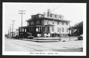 Elks Club Street View Apollo PA Unused c1940s