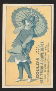 VICTORIAN TRADE CARD Goulds Hats, Trunks & Gloves Girl with Umbrella