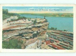 W-border RIVER SCENE Hannibal Missouri MO AE6376
