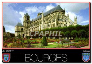 Modern Postcard Bourges Cher Saint Etienne cathedral view of the gardens of t...