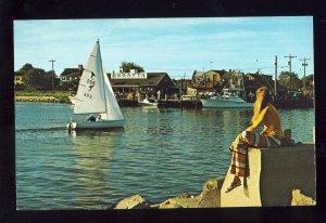 Falmouth, Massachusetts/MA Postcard, Sailboat In Falmouth Harbor, Cape Cod