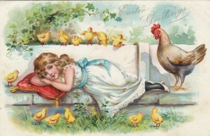 EASTER, 1901-07; Girl laying on bench surrounded by a Chicken, chicks; TUCK