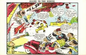 WWII Caricature, Hirohito sets Civilization on Fire Allies come to Recue (1940s)
