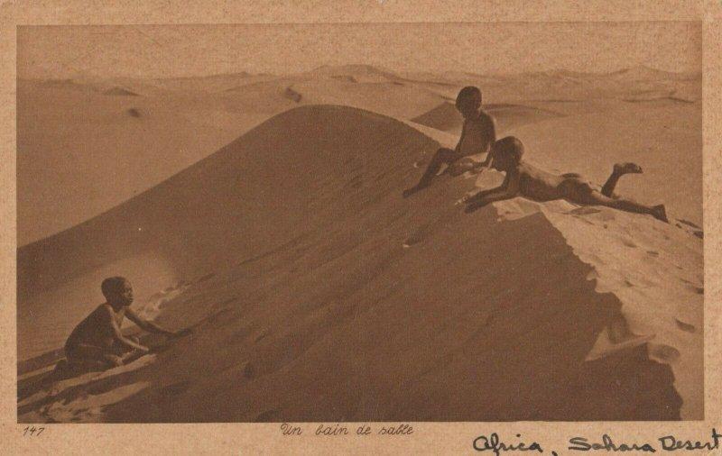 EGYPT , 00-10s ; Sahara Desert , Naked boys on sand dune