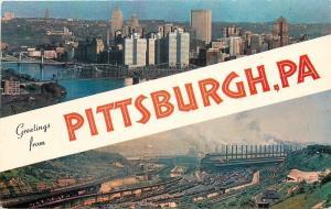 Pittsburgh Pennsylvania~Skyline~Steel Company~1950s Banner Greetings