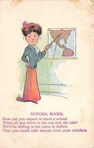 School Marm Poem Cartoon Occupation, Teacher 1912