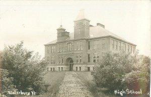 Vintage Waterbury VT High School Postcard, Real Photo Pre 1930s