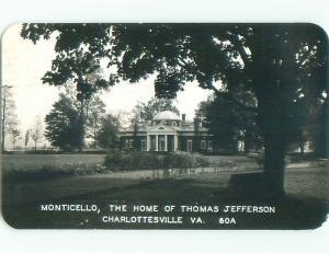 1946 rppc MONTICELLO PRESIDENT JEFFERSON HOME Charlottesville Virginia VA o1268