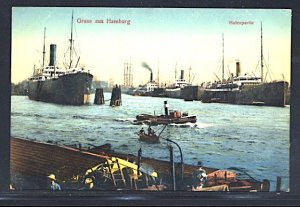 Gruss Aus Hamburg Steamers and Tugboat in the Harbor 1911