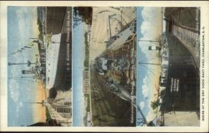 Charleston SC Ships Dry Dock Multi-View Submarine & USS Texas & Brutus c1920