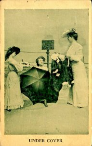 Victorian Woman Changing at Beach Under Cover  Risque Vintage Postcard