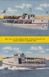 LAKESIDE, Ohio, 1930-1940´s; Two of the Charter Fleet of Boats Operated By B...
