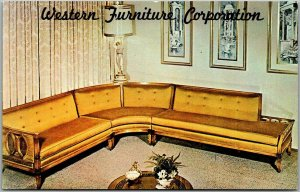 Los Angeles, California Advertising Postcard WESTERN FURNITURE CORP. Couch 1960s