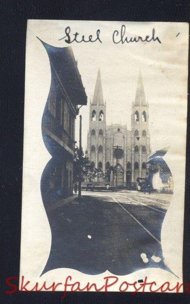 MANILA PHILIPPINES STEEL CHURCH BUILDING VINTAGE WWI ERA REAL PHOTO PHOTOGRAPH