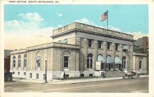 South Bethlehem Pennsylvania~Post Office~Nice Vintage Auto~1920s Post Card