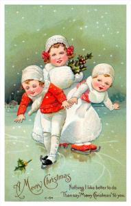 20001    Christmas,  victorian children ice skating