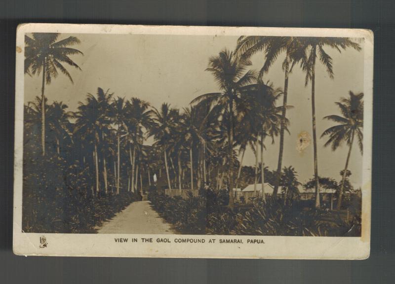 Mint New Guinea BW RPPC Postcard Papua View of Jail Gaol Compund Samarai