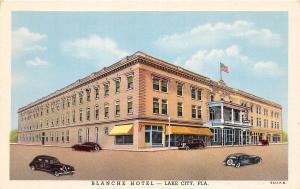 A90/ Lake City Florida Fl Postcard c1930s Blanche Hotel Automobiles