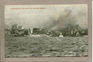 .. Postcard WA Seattle Water Front Harbor Steam Ships c1915 2650N