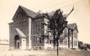 Ellsworth Wisconsin~High School~Man on Ladder at Window~c1912 Real Photo~RPPC