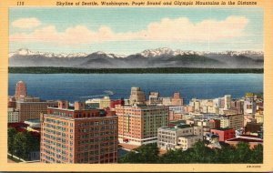 Washington Seattle Skyline Puget Sound and Olympic Mountains In Distance Curt...
