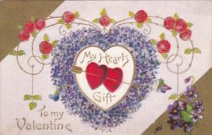 Valentine's Day Red Hearts Pierced By Arrow 1912