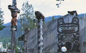 Totem Poles Wrangell Alaska AK Chief Shake Community House Totems Postcard D27