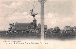 U.S. Life Saving Crew at Drill, Brant Rock, MA, Early Postcard, Unused