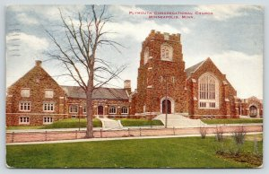 Minneapolis Minnesota~Plymouth Congregational Church~Bare Tree~1915 Postcard