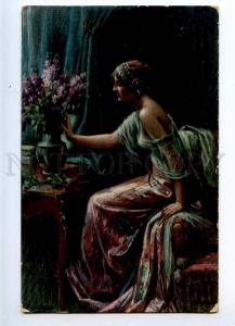 226770 Spring Flowers BELLE Lady lilac by ENJOLRAS Vintage PC