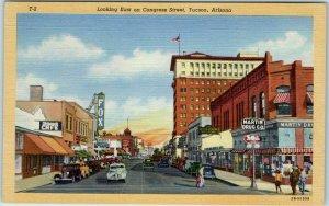 Tucson, Arizona Postcard Looking East on Congress Street Curteich Linen 1940s