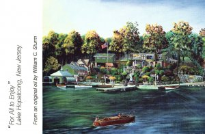 Vintage Postcard  For All To Enjoy Lake Hopatcong New Jersey Oil Paint Art