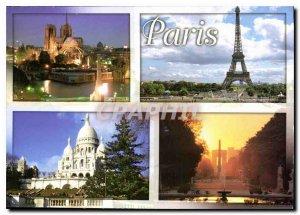 Postcard Modern Marvels Paris and Notre Dame de Paris Eiffel Tower the Basili...