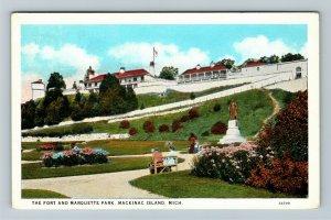 Mackinac Island MI-Michigan, The Fort, Marquette Park, Vintage Postcard