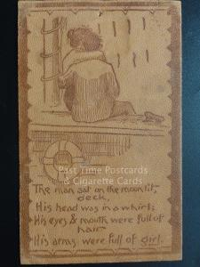 American Leather Postcard: THE MAN SAT ON THE MOONLIT DECK.... c1906