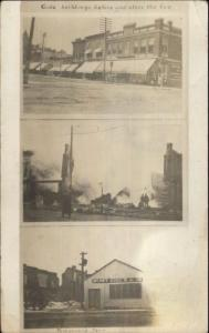 Marengo IA Cancel Gode Buildings Before/After Fire Real Photo Postcard spg