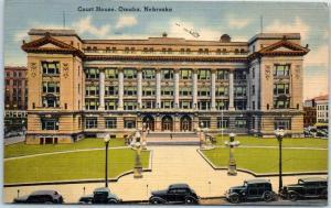 Omaha, Nebraska Postcard Douglas County Court House Tichnor Linen 1944 Cancel