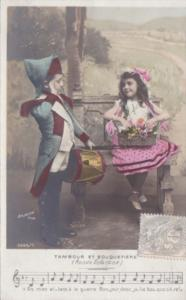 Young Children Song Card Tambour Et Bouquetiere