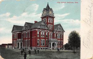 E24/ McComb Ohio Postcard 1908 High School Building Students