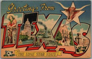 TEXAS Large Letter Postcard The Lone Star State Beals Linen / 1952 Cancel