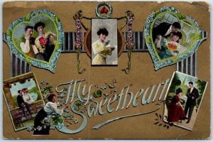 Vintage VALENTINE'S DAY Postcard My Sweetheart Multi-View Romance 1909 Cancel