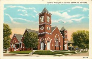 Vintage Linen Postcard; Central Presbyterian Church, Henderson KY Unposted
