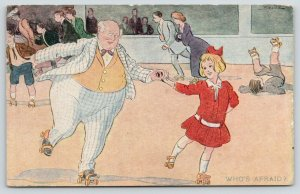 Brill~Roller Rink Skating~Who's Afraid? Lil Girl Leads Portly Gent~1907 R Hill