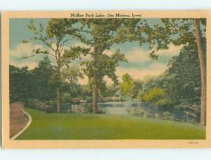 Unused W-Border MCRAE LAKE PARK SCENE Des Moines Iowa IA r7859