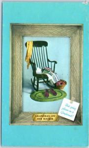 Vintage GREYHOUND BUS Advertising Postcard Grandma's Off Her Rocker Unused