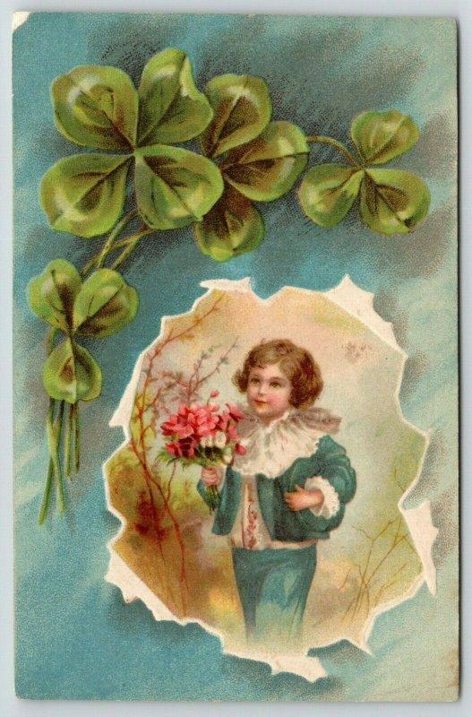 Regency Boy Carries Pink Flower Bouquet~Shamrock Arch Spring Cut-Away~Artist