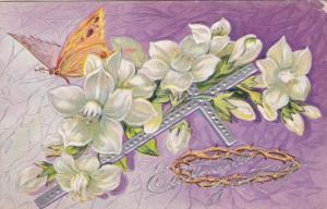 EASTER; Eastertide Greetings, Butterfly, White Flowers, Silver Cross, Crown o...