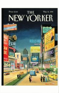 Lost Times Square by Bruce McCall on 1999 New Yorker Magazine Postcard