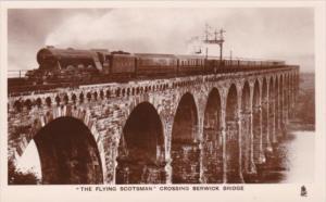 Trains The Flying Scotsman Crossing Berwick Bridge Berwick-On-Tweed Tucks Rea...